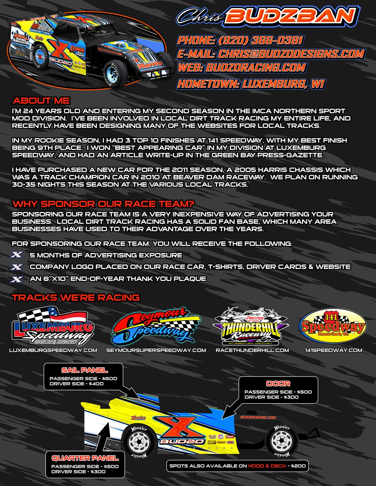 2011 Marketing Proposal Budzo Racing X Chris Budzban Imca